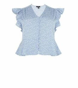 Curves Blue Heart Button Up Frill Trim Blouse New Look