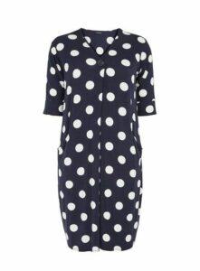 Navy Blue Polka Dot Pocket Dress, Navy