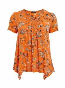 Orange Floral Print Pintuck Top, Orange