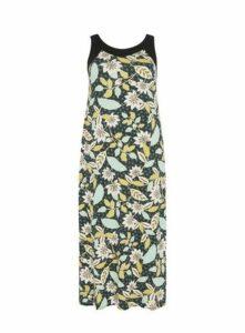 Green Floral Print Maxi Dress, Black