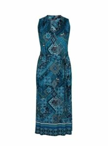 Navy Blue Tile Print Maxi Dress, Others