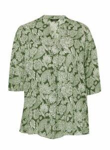 Khaki Paisley Print Shirt, Khaki