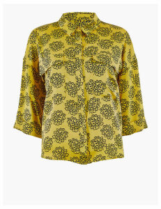 M&S Collection Printed Satin Oversized Shirt
