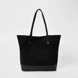 River Island Womens Black leather tote shopper bag