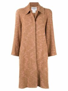 Chanel Pre-Owned long sleeve two-tone tweed coat - Brown