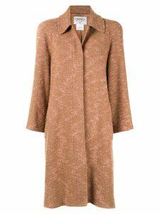 Chanel Pre-Owned long sleeve two-tone tweed coat - Brown