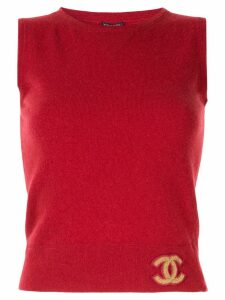 Chanel Pre-Owned CC logos sleeveless knit top - Red