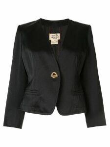 Hermès Pre-Owned metal toggle fastening slim blazer - Black
