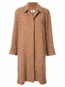 Chanel Pre-Owned single-breasted marled coat - Brown