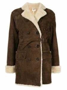 Hermès Pre-Owned shearling double breasted coat - Brown