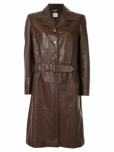 Chanel Pre-Owned long sleeve belted coat - Brown