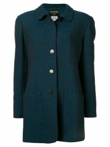 Chanel Pre-Owned slim tweed coat - Blue