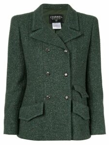 Chanel Pre-Owned slim double breasted blazer - Green