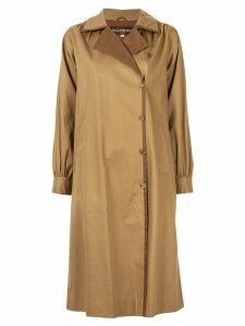 YVES SAINT LAURENT PRE-OWNED off-centre fastening midi coat - Brown