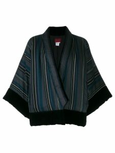 Kenzo Pre-Owned asymmetric striped jacket - Black