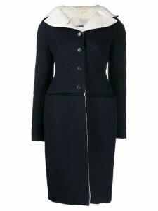 Jil Sander Pre-Owned buttoned fitted midi coat - Blue