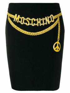 Moschino Pre-Owned chain logo belt printed skirt - Black