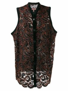 Romeo Gigli Pre-Owned embroidered floral gilet - Black