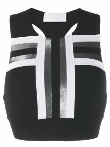 No Ka' Oi stripe detail sport top - Black