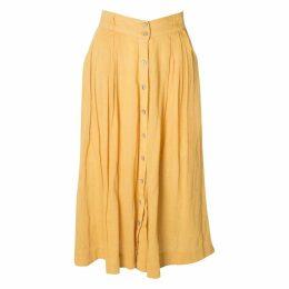 Linen mid-length skirt