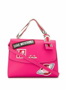 Love Moschino embellished logo patch tote - Pink