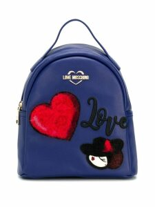 Love Moschino logo patch backpack - Blue
