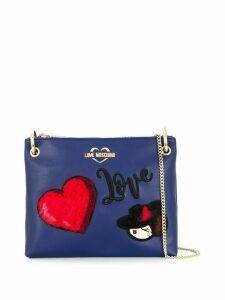 Love Moschino logo patch shoulder bag - Blue