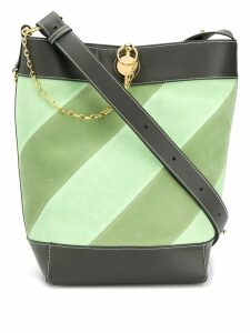JW Anderson diagonal striped bucket tote - Green