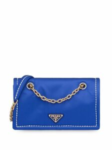 Prada rectangular logo shoulder bag - Blue