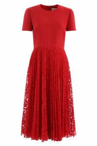 Valentino Midi Dress With Lace Skirt
