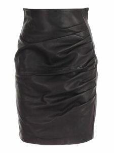 Parosh Skirt Pencil W/drape Leather