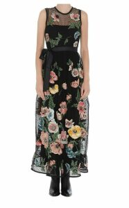 Red Valentino Macrame Dress With Embroidered Poppies Detail