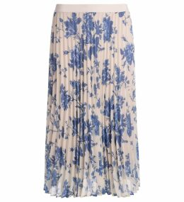 Semicouture Federick White Plissè Skirt With Light-blue Flowers