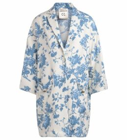 Semicouture Sigmund White Coat With Light-blue Floral Pattern.