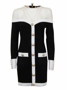 Balmain Curved Neckline Contrast Velvet Dress