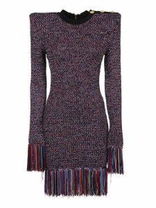Balmain Short Ls 3 Btn Tricolored Knit Dress