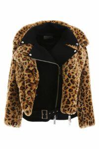 Sacai Leopard Print Faux Fur Jacket