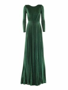 Elisabetta Franchi Celyn B. Pleated Long Dress In Laminated-effect Jersey