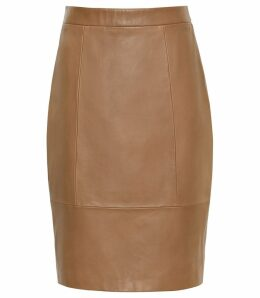 Reiss Kristen - Leather Skirt in Tan, Womens, Size 14