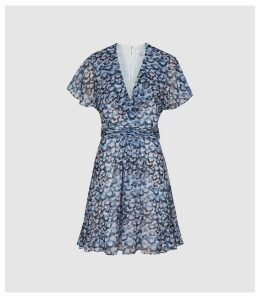 Reiss Amy - Floral Printed Day Dress in Blue, Womens, Size 16