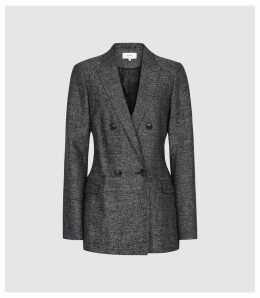 Reiss Ossie - Double Breasted Textured Blazer in Navy, Womens, Size 14