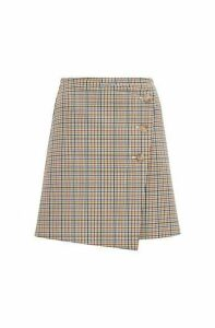 Button-front A-line skirt with a multi-coloured check