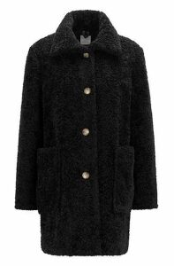Regular-fit teddy coat with stand collar