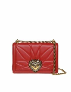 Dolce & Gabbana Large Devotion Bag In Matelassé Nappa Red Color