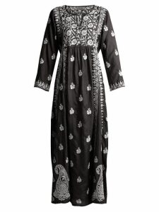 Muzungu Sisters - Floral Embroidered Silk Dress - Womens - Black White