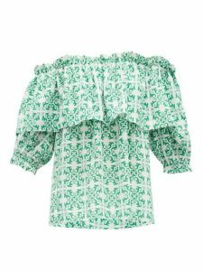 Beulah - Ridhi Tile Print Off Shoulder Silk Top - Womens - Green
