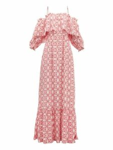 Beulah - Aakash Off Shoulder Tile Print Silk Dress - Womens - Pink Multi