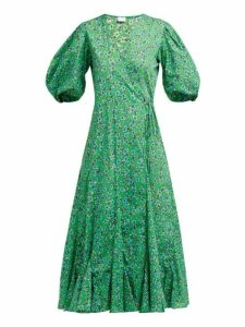 Rhode - Fiona Floral Print Cotton Wrap Dress - Womens - Green Print