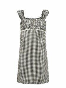 Solid & Striped - Off The Shoulder Gingham Seersucker Mini Dress - Womens - Black White