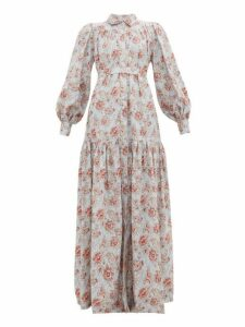 Evi Grintela - Elsa Floral Print Cotton Maxi Shirtdress - Womens - Light Blue